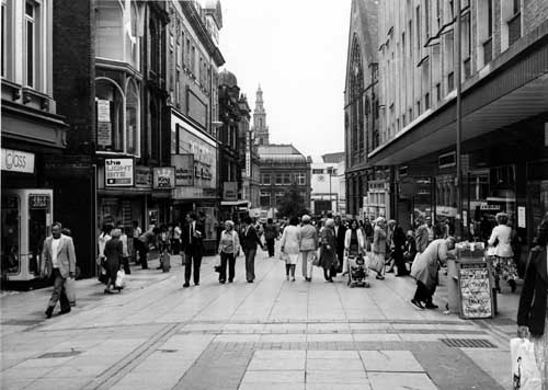 24th April 1979. View of Lands Lane looking in the direction of Commercial Street. From www.leodis.net, (c) Leeds Library and Information Service