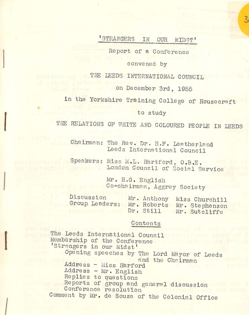 Front-cover of Strangers in our Midst, a 1955 report held at the Central Library