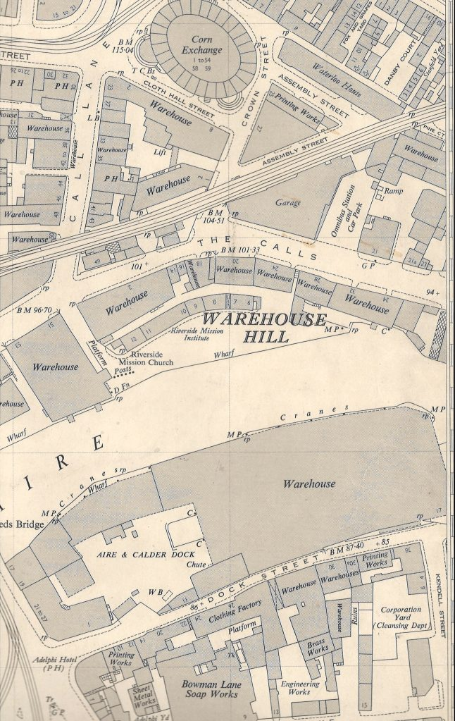 Extract from a 1952 Ordnance Survey map held at the Central Library, showing the Warehouse Hill area of Leeds City Centre, at 1:1250 scale, (c) OS