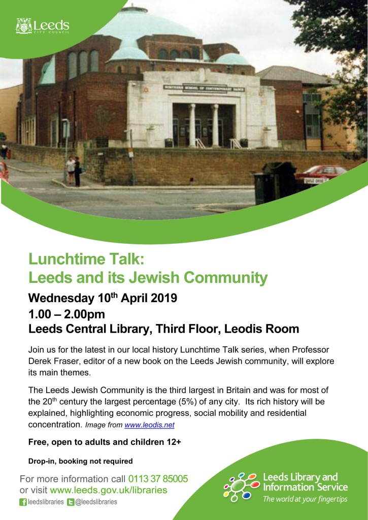 Poster for the April 10 talk by Derek Fraser on the Jewish Leeds community