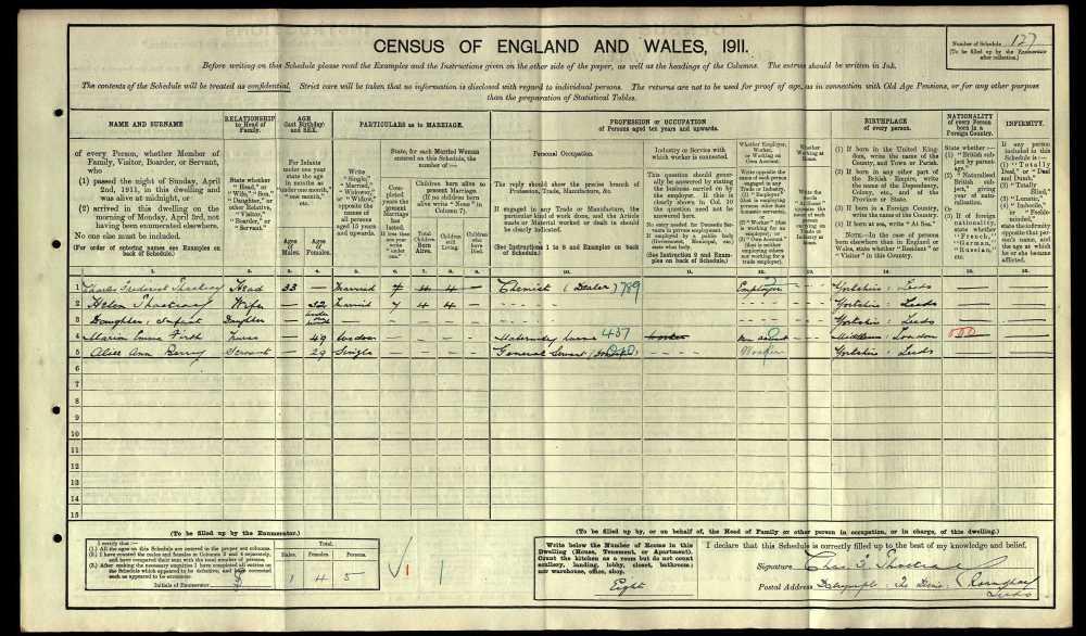 Charles Thackray 1911 census