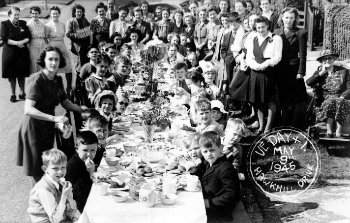 Image of Hawkhill Drive residents celebrating VE Day with a street party.