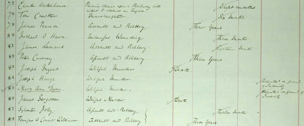 Page from Criminal Registers showing Joseph Myers and James Sargisson