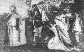 Leeds Mercury 27th July 1920. Scenes from the Robin Hood pageant showing Queen Elinor, Prince John and Lady Hillaria, left, and on the right, Kester as Friar Tuck