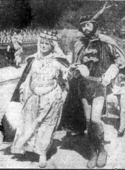 Leeds Mercury 26th July 1920. Scenes from procession around Collingham of the Robin Hood pageant. On the left are Queen Elinor and Prince John, and on the right, Maid Marian is carried by Robin Hood's men