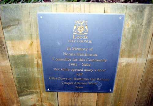 5th March 2007. View of a memorial plaque to Councillor Norma Hutchinson, situated on Chapeltown Road outside Chapeltown Library.