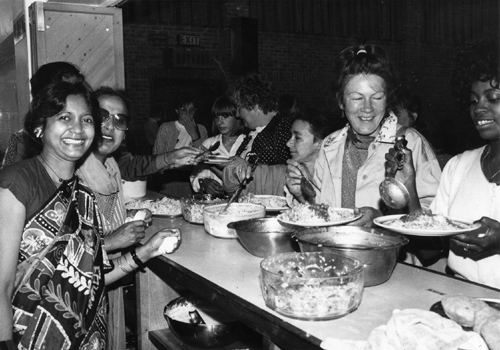 28th July 1989. Image shows some of the 250 people who attended the Sikh Centre in Chapeltown Road to take part in the Community Lunch and sample the vegetarian menu. It was an event organised by the Leeds 100k club, a black organisation dedicated to raising £100,000 for the 'Give For Life Appeal.'