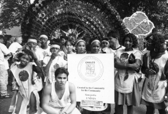 August 1989. Image shows students from CHALCS taking part in the annual Leeds West Indian Carnival.