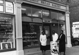 1989. View of the Daily Bread Bakery, a Caribbean baker located at number 235 Chapeltown Road.