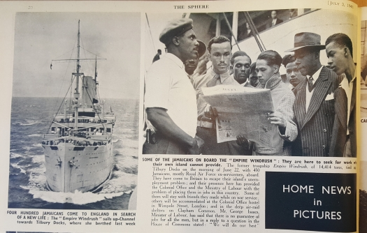 Article in the Central Library's copy of The Sphere magazine, showing Jamaicans onboard the Empire Windrush, bound for the U.K.