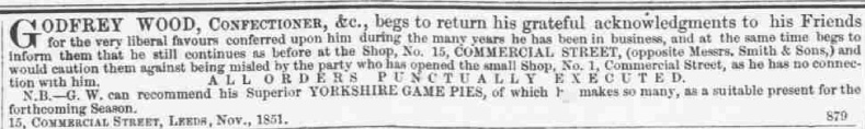 Advertisement for Wood's Confectioners