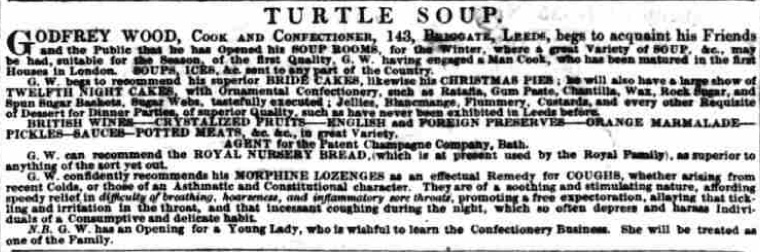 Newspaper advert from 12 November 1842, advertising Wood's Soup Rooms