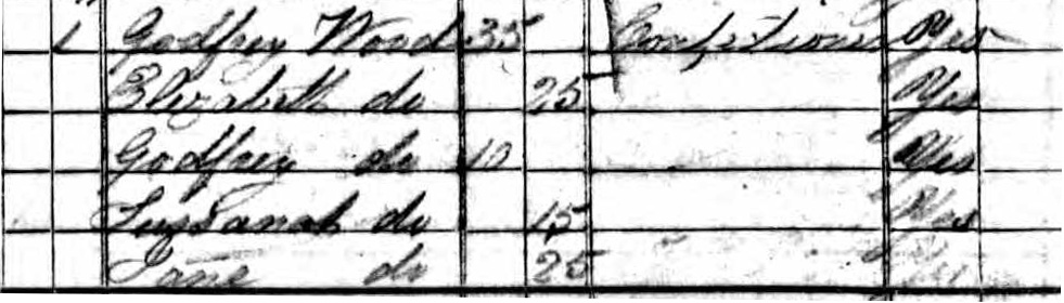 Image showing Godfrey Wood and family on 1841 census