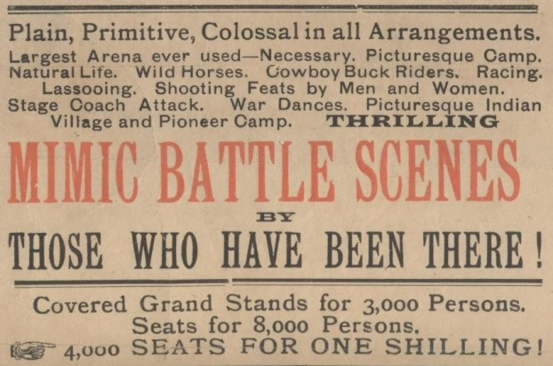 Enlargement of part of the playbill for Buffalo Bill's Wild West