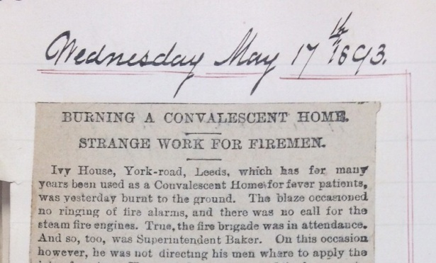Newspaper cutting from May 1893 concerning the burning of a convalescent home.