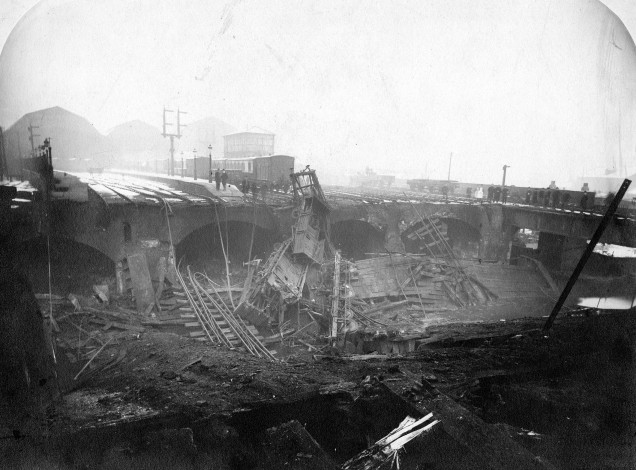 Images shows aftermath of Leeds New Station fire in 1892. Destroyed train tracks are visible.