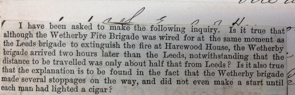 Newspaper cutting criticising Wetherby Fire Brigade