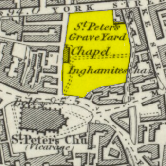 1852 Ordnance Survey Map showing Penny Pocket Park when it was the intact Graveyard