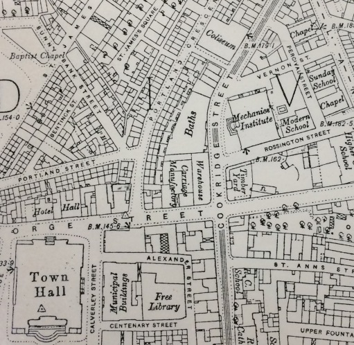 Ordnance Survey map from 1893 showing the location of the public baths