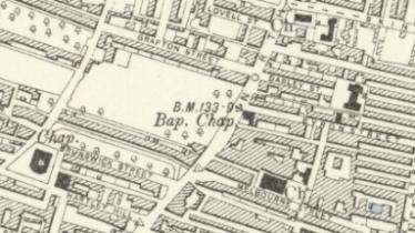 1894 Ordnance Survey map showing the North Street market