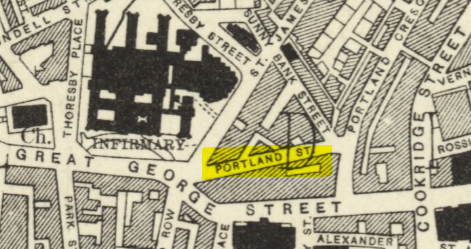 1909 Ordnance Survey Map, showing Mandela Gardens/Portland Street
