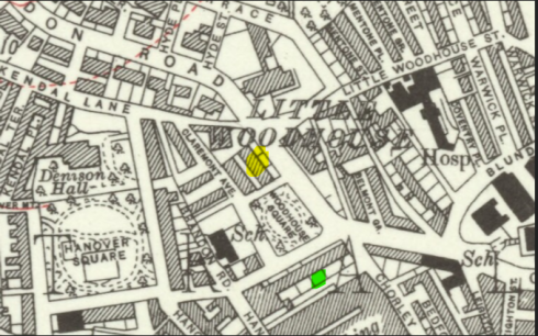 1932 Ordnance Survey map of Little Woodhouse, showing Hanover and Woodhouse Square