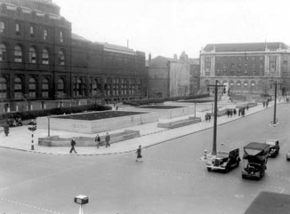 23rd June 1942. View of three static water tanks, built on Headrow Gardens to provide water in emergencies (C) Leeds Libraries