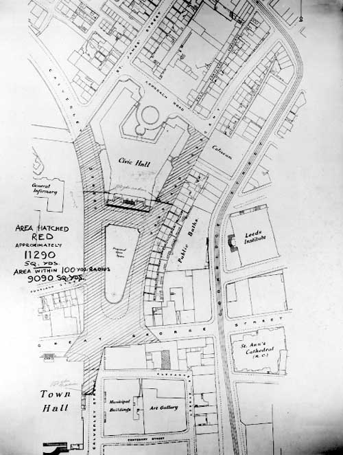 18th November 1936 Plan of Civic area, drawn up when a decision was being made to resite the war memorial (C) Leeds Libraries