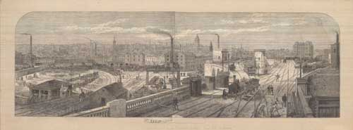 Undated. Print showing the approach to Leeds Central Station from the railway lines (C) Thoresby Society