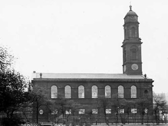 1905. View of St. Paul's Church looking across Park Square shortly before demolition (C) Thoresby Society