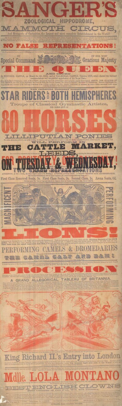Playbill showing a performance of Sanger's Zoological Hippodrome and Mammoth Circus at the Leeds Cattle Market (C) Leeds Libraries