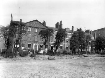 9th September 1959 Queen Square was initially developed by John and George Biscoff, the brothers had lived at nearby Claypit House since 1787 and owned the adjacent land (c) WYAS
