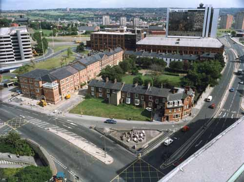 Undated. Aerial view of the Queen Square buildings of Leeds Metropolitan University, By the junction of Woodhouse Lane, left, and Clay Pit Lane, right (c) Leeds Libraries