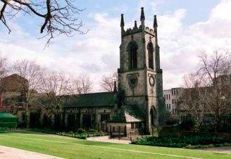 February 2007. View of St. John's Church from Merrion Street Garden of Rest on Merrion Street (C) Leeds Libraries