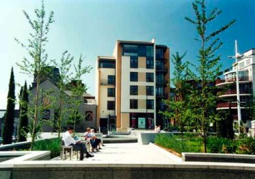 C2001. Image is taken in Mandela Garden, part of Millennium Square and looks west towards Calverley Street (C) Leeds Libraries
