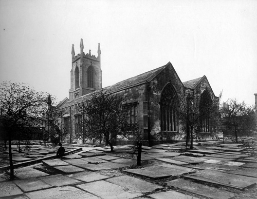 Undated. Old photograph of St. John's Church showing the graveyard in front (C) Leeds Libraries