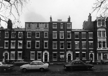 c1975-76. View of Park Square West showing, from left, nos.28 to 32, all Grade II listed buildings (C) Leeds Libraries
