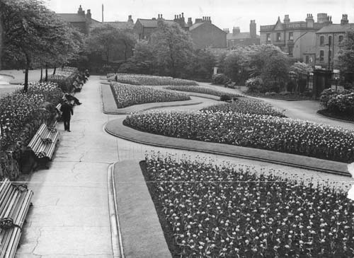 May 1937. View shows a bulb display in the formal gardens at North Street Recreation Ground, now known as Lovell Park (c) Leeds Parks and Countryside