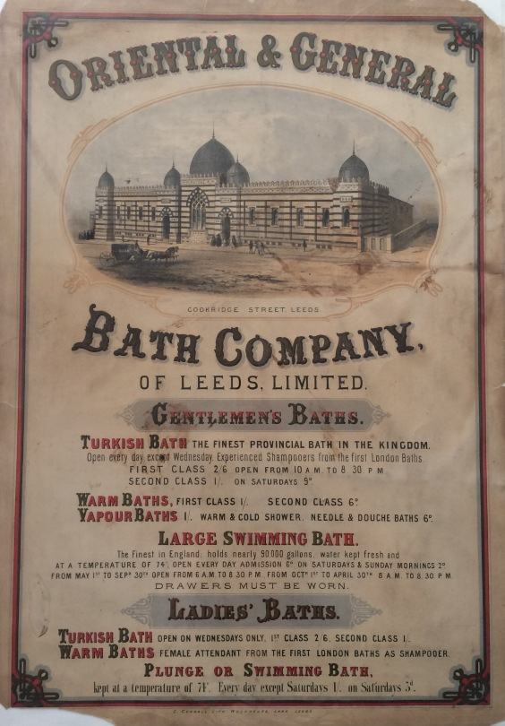Image shows print advertising the Oriental and General Bath Company with an image of the baths and text describing the types of baths available