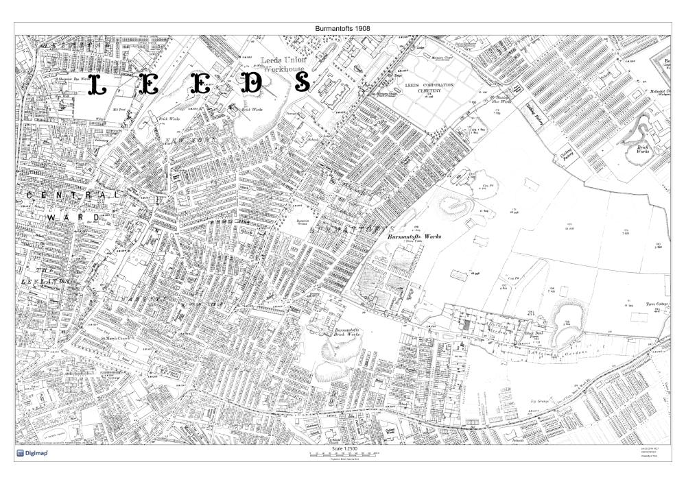 Ordnance Survey map of Burmantofts and Sheepscar, showing housing and land usage, early 20th-century