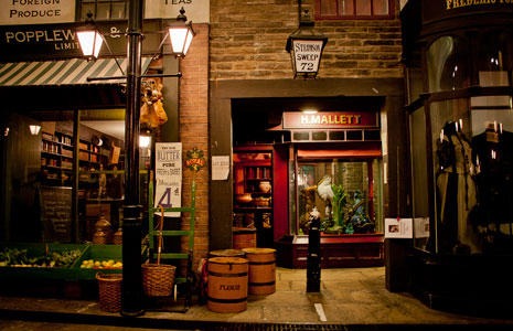 Recreation of a Victorian street and shop, with