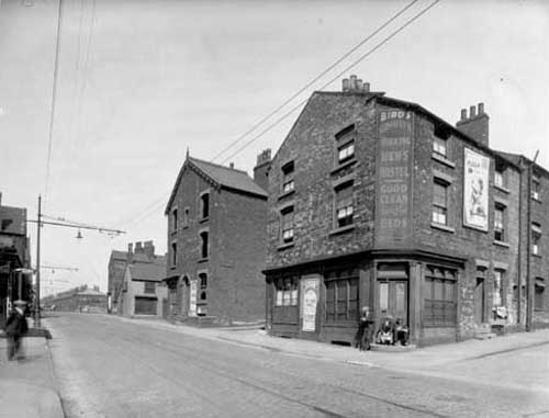 Back to back terraced housing, late 1930s, at junction with road