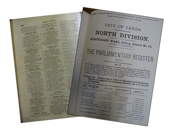 Photos of trade directories, showing street names and occupants