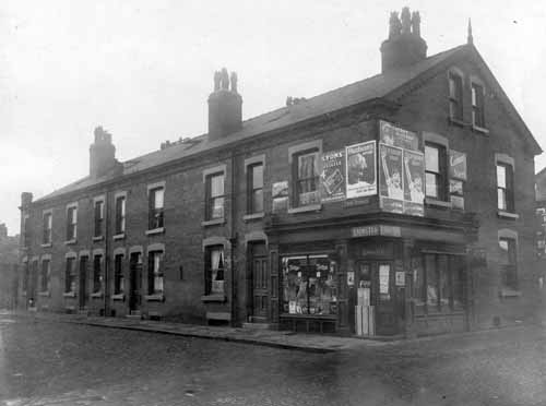 Back to back terraced housing, late 1920s, with corner shop at the end of the row