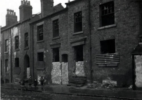 Derelict back to back terraced housing, 1940s