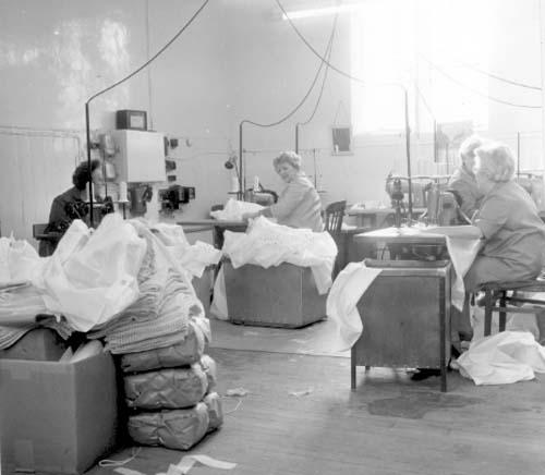 Women working at factory machines