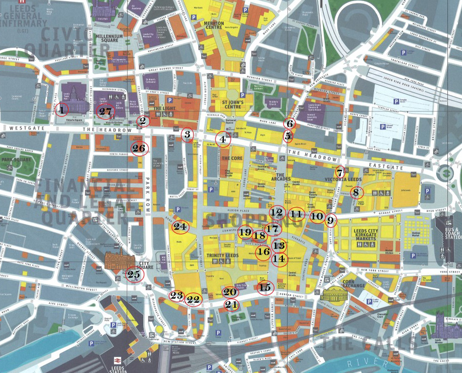 Map of Leeds city centre showing locations of trail stop offs.